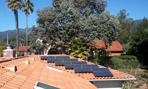 solar panels on roof of ojai home